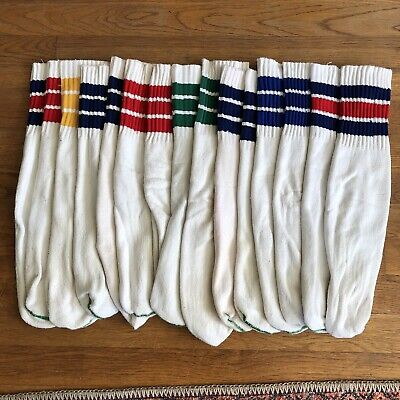 LOT 6 Pair Vintage Vtg Retro Tube Socks Gym Athletic Running 60s 70s White