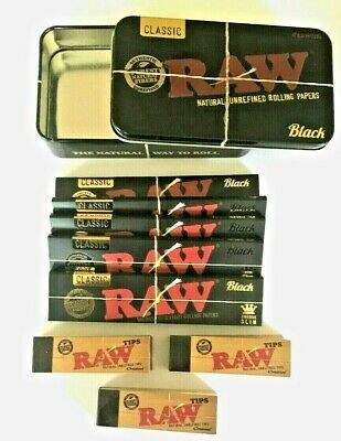 RAW Black CLASSIC Rolling Papers King Size Slim Roach Filter Tips Option Tin