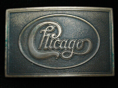 QB07159 VINTAGE 1970s **CHICAGO** MUSIC BAND COMMEMORATIVE SOLID BRASS BUCKLE