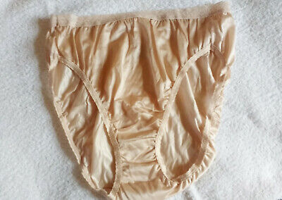 Pretty White 100/% Silky Nylon Vintage Style High Leg Panties Knickers S 10