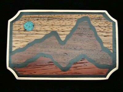 RB05160 VINTAGE 1970s **MOONLIT MOUNTAIN** WOOD & STONE ON SOLID BRASS BUCKLE