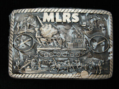 RB05156 *NOS* VINTAGE 1980s **MLRS** ROCKET LAUNCHER MILITARY SOLID BRASS BUCKLE