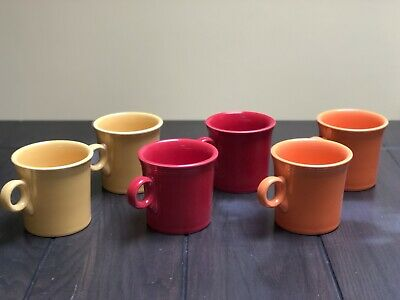 Fiesta Ring Handled Mugs Lot Set of 6 Mixed Colors Excellent Fiestaware