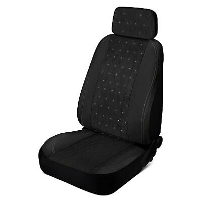 Swarovski Universal fit car Accessories for Women LUNNA AMA-011 Butterfly Interior Bundle 2 Sunshade, 1 Steering Wheel, 1 Floor Mat SUVs and Truck Black seat Cover Rhinestone Crystals