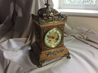 Antique 19th Century French JAPY FRERES Oak Brass Mounted Mantle Clock