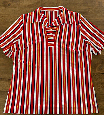 Vintage Men's 1960's Stripped Shirt Small Terry Cloth 50s 70s Retro Rockabilly