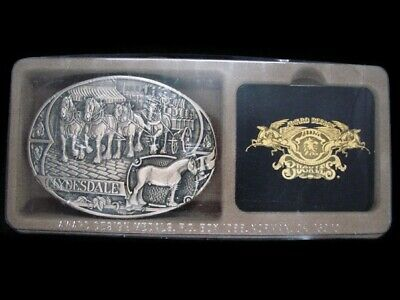 TH07149 *NOS* VINTAGE 1980s **CLYDESDALE HORSE BREED** SOLID BRASS BELT BUCKLE