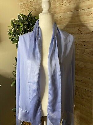 LINDA HUTTON For Bloomingdales Silk Chiffon Light Sky Blue Shawl Wrap Scarf
