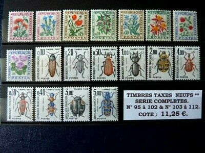 3 SERIES COMPLETES de Timbres TAXES NEUFS** LUXE - n° 95/102 103/108 & 109/112