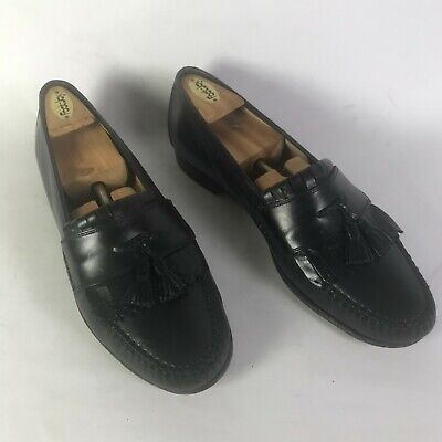 Johnston & Murphy Mens Leather Tassel Loafers Shoes Black Size US 11 7481 Italy