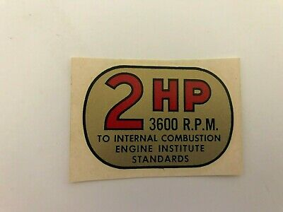 Vintage Briggs & Stratton Water Transfer 2 HP Engine Decal, NOS