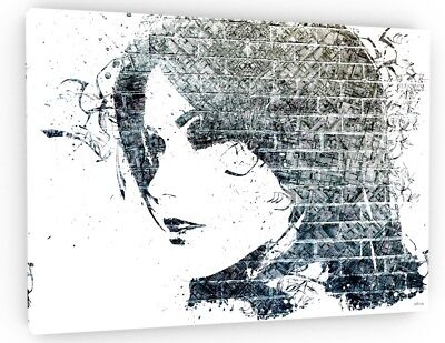 BLACK WHITE ABSTRACT FACES CANVAS WALL ART PICTURE WS136 MATAGA UNFRAMED-ROLLED