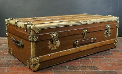 Beautiful French Canvas Printed Emblem French Steamer Trunk Brass Bound