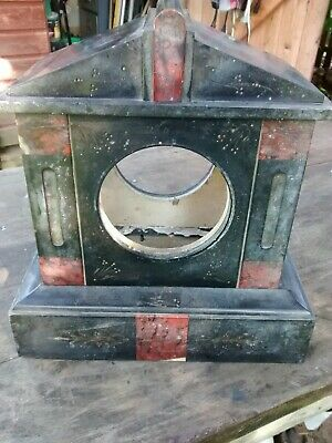 French Antique Red Marble and Slate Mantel Clock Case