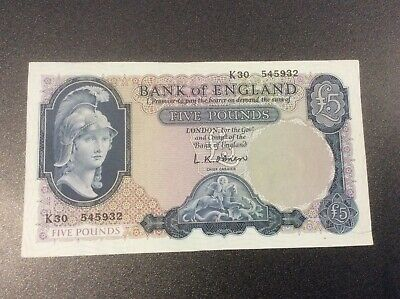 Old Bank Of England Five Pound Note L.K.O'Brien