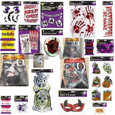 WINDOW GEL STICKERS HALLOWEEN Party Scary Spooky Printed Decor Decals P976137 UK