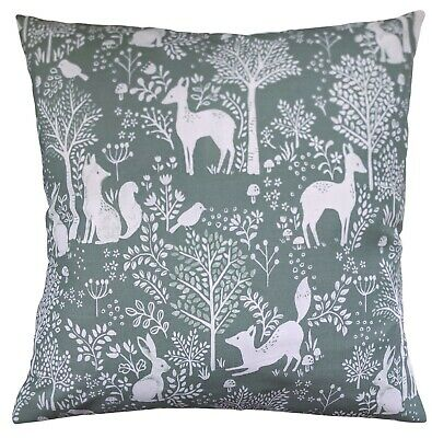 """16/"""" Cushion Cover in Petrol Blue Kissing Squirrels by Anorak"""