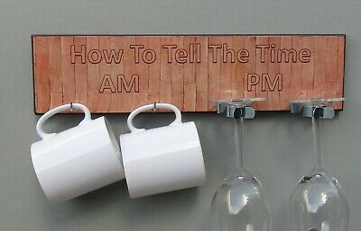 Wall Picture Board How To Tell The Time for a Pair of Mugs /& Glasses AM//PM Oak