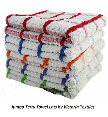15 x EXTRA LARGE JUMBO TERRY BIG CHECK 100/% COTTON TEA TOWEL KITCHEN DISH CLOTH