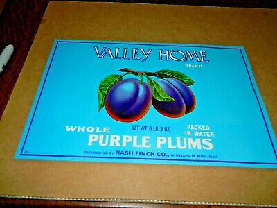 Minnesota Minneapolis Valley Home Purple Plums Vintage Can Label Nash Finch Co