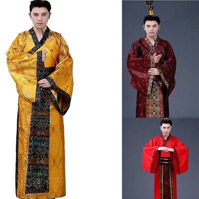 Chinese//Men's Han Clothing Emperor Prince Show Cosplay Suit Robe Costume Hanfu++