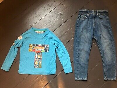 Marks And Spencer Boys' Blue Top/Denim Jeans Size 5-6 Years Preowned