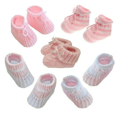 Baby Boys Girls Gift Spanish Romany Knitted Shoes Bow /& Pom Pom Booties