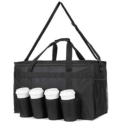 Insulated Food Bag with Cup Holders, Large Commercial Hot or Cold Food Delivery
