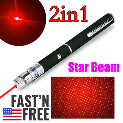 800Miles AAA Red Laser Pointer Pen 650nm 2in1 Star Cap Visible Beam Lazer Light