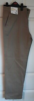 Boys chino cotton trousers straight with stretch - beige - George - W36 L30 BNWT