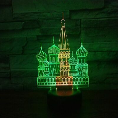 Russian Church Model 3d Night Light Lamp Orthodox Temple Touch Switch Hit Table