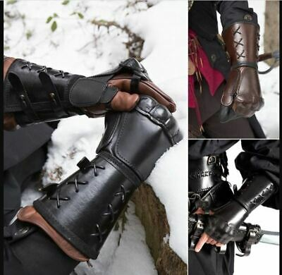 Samurai Leather Bracer Long Gloves Fingerless Mitten Elbow Cuff Medieval Gauntle