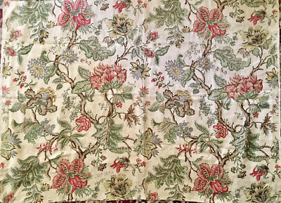 1930's French / English Jacobean Floral Linen Fabric