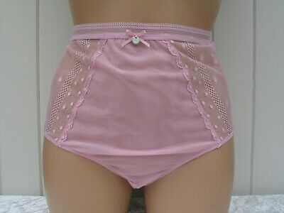 BOUX AVENUE Underwear Size 12 Dove Spot Mesh Lace High Waisted Knickers Briefs