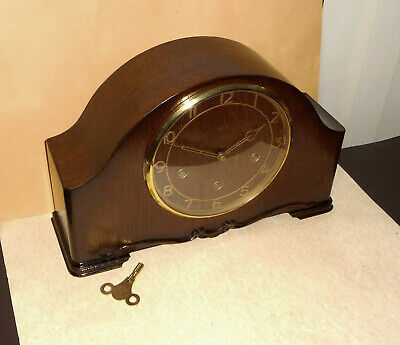 Vintage restored 1950 Smiths Enfield westminster mantle clock with brass key.