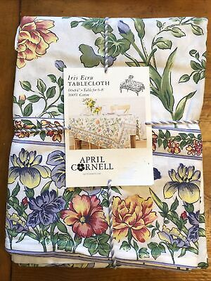 April Cornell IRIS ECRU Colorful Shabby Floral Rectangle Cotton Tablecloth NWT
