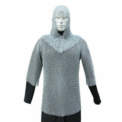 Medieval Knights Renaissance Functional 16g Chainmail Armor with Coif Set