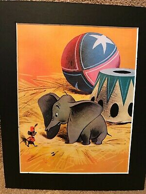 DUMBO /&  TIMOTHY MOUSE~DISNEY ~8 x 10 Mat Print~ON WITH THE SHOW~CIRCUS~NEW