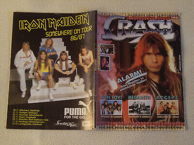 CRASH METAL MAGAZIN Nr. 11 / 12 1986 Iron Maiden Accept Europe Metallica +Poster
