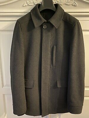 Mens Austin Reed Coat Size M Charcoal 100 Wool Quilted Lining Cuffed Sleeves 48 00 Picclick Uk