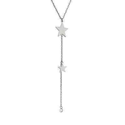 Handmade Silver Four Star Lariat Y Necklace with Dangle Small Stars