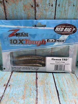 """16 Oz Z-Man Elaztech Finesse TRD Ned Worm Rig 8 Pack Hot Craw 2.75/"""""""