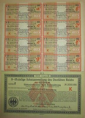 Bond Germany Reich Coupon 1922 1000 Inflation Stocks Berlin Coupons