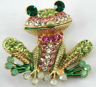 Goldtone Brooch Pin Rhinestone Pink Green Frog Big Round Eyes Opalescent Toes