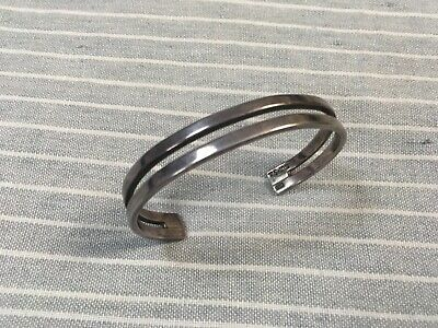 Mexican 925 wavy curvy cuff stamped mexico 925 Vintage sterling silver handmade bracelet 6.75\u201d
