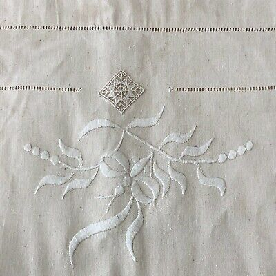 06339 Stunning French vintage cotton heavily embroidered sheet