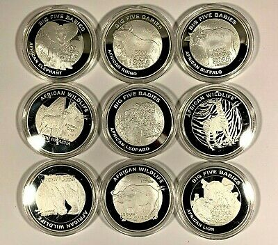 9 2016 Zambia Wildlife Series Proof Coins