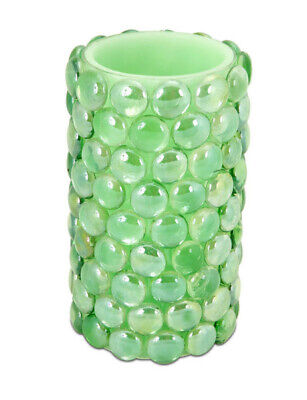"Melrose 6"" Green Beaded LED B/O Flameless Pillar Candle - Amber Flicker Flame"