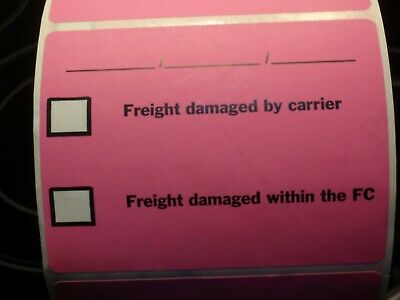"""Freight damaged by carrier"" 4"" x 3"" self adhesive labels 4 x 2000 per roll 3"" c"