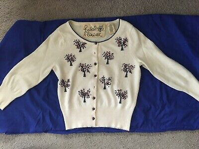 148 Anthropologie Field Flower Cardigan S Tree Heavenly Orchard Wendi Reed Bird 15 99 Picclick